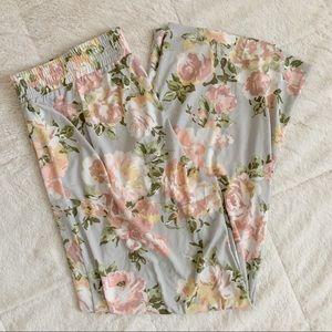 IMAN / pink floral wide leg palazzo pant / L short